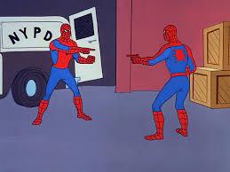 I restored in HD 4k the original Spider-Man Pointing at Spider-Man  Template - (aka spiderman confusion meme) - [4096*3072] : MemeRestoration