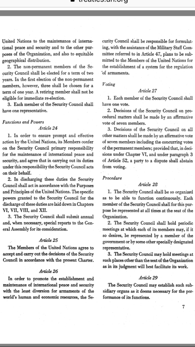 article 42 of the un charter Chapter vii: action with respect to threats to the peace, breaches of the peace, and acts of aggression article 39the security council shall determine the existence of any threat to the peace, breach of the peace, or act of aggression and shall make recommendations, or decide what measures shall be taken in accordance with articles 41 and 42.