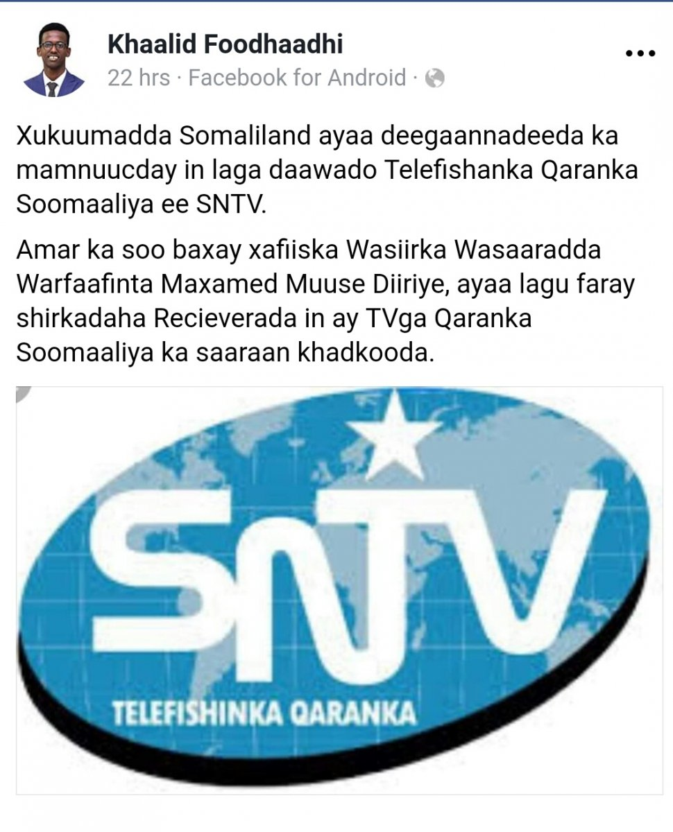 No more Somalian tv in Somaliland | Somali Spot | Forum, News, Videos