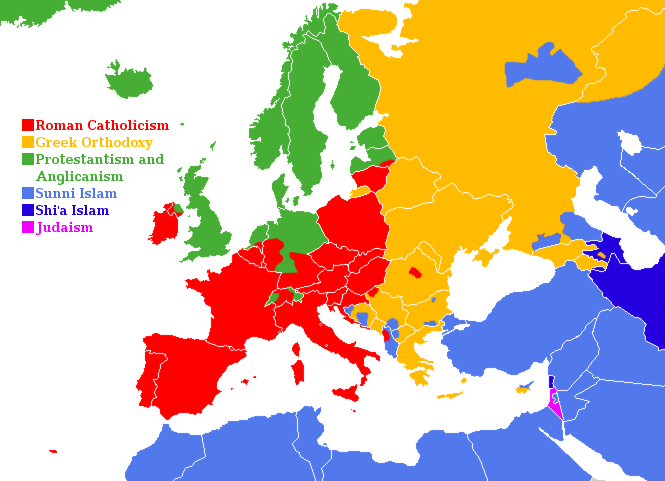Christian Denominations And The Three European Ethnicities - Religion map europe