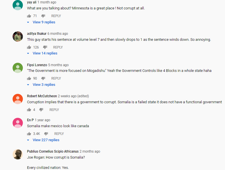 Racist Caadan's in youtube comment section against Somali's